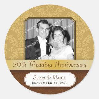 Framed Damask Golden 50th Anniversary Sticker