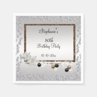 Framed Elegance 80th Birthday Party Disposable Serviette