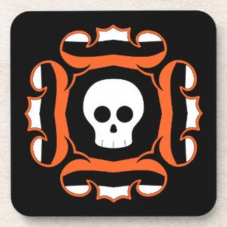 Framed fancy Halloween skull Beverage Coasters
