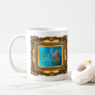 Framed Flawless Pink & Blue Butterfly Gallery Coffee Mug