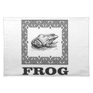 framed frog artwork placemat