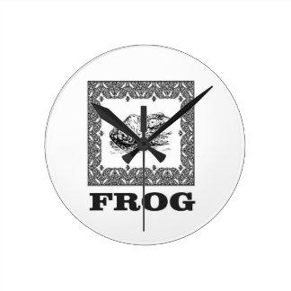 framed frog artwork round clock