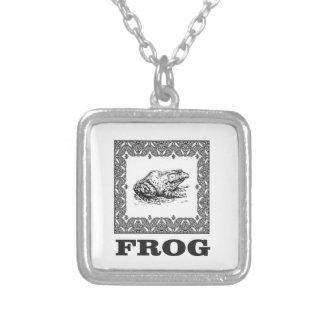 framed frog artwork silver plated necklace