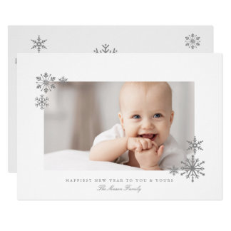 Framed Glitter SnowflakeS New Year Photo Card
