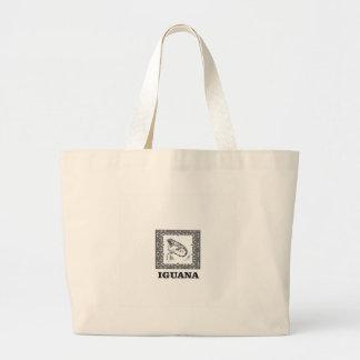 framed iguana yeah large tote bag