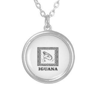framed iguana yeah silver plated necklace