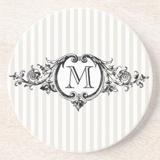 Framed Monogram On Stripes Coaster
