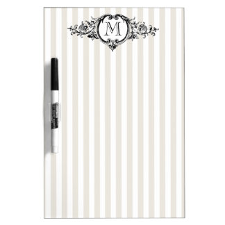 Framed Monogram On Stripes Message Board