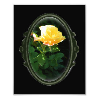 Framed Oval Gothic Yellow Rose Photo