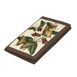 Framed Painting of Butterflies and Flowers Tri-fold Wallets