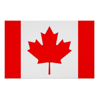 Framed print with Flag of Canada
