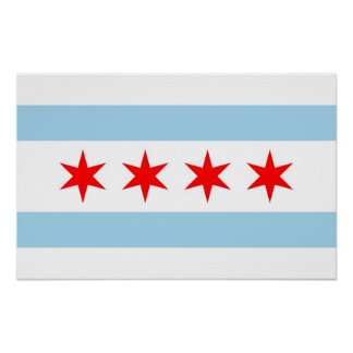 Framed print with Flag of Chicago, U.S.A.