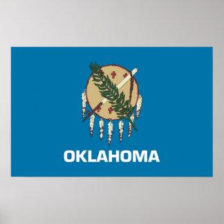 Framed print with Flag of Oklahoma, U.S.A.