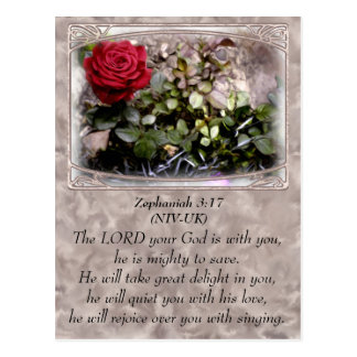 Framed Red Mini Rose Zephaniah 3:17 Postcard