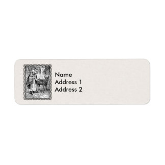 Framed Red Riding Hood Wolf in Forest on White Return Address Label