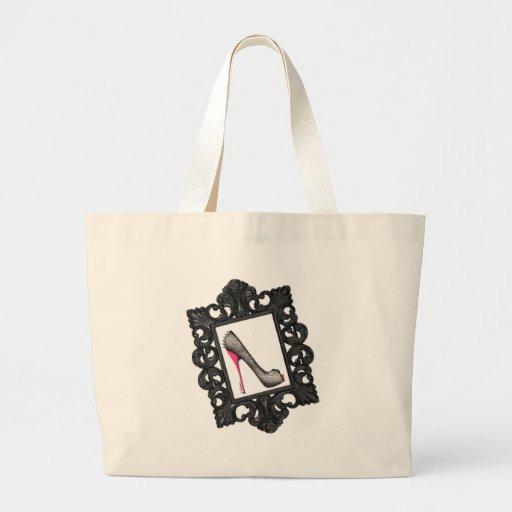 Framed Reptile Stiletto Logo Tote Bag