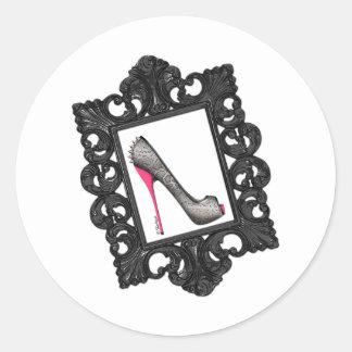 Framed Reptile Stiletto Logo Round Stickers