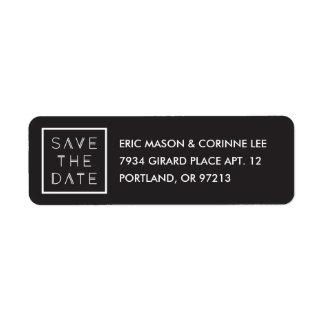 Framed Save the Date Mailing Label - Black Return Address Label