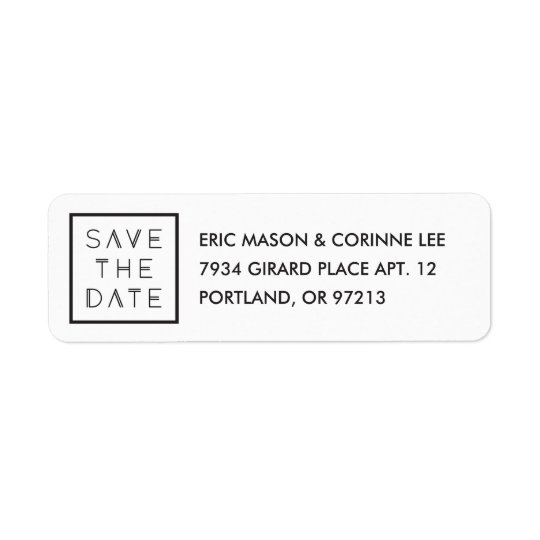 Framed Save the Date Mailing Label - White