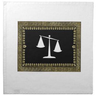 framed scales of justice napkin