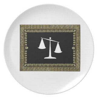 framed scales of justice plate