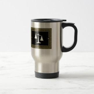 framed scales of justice travel mug