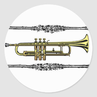 framed trumpet in gold round sticker