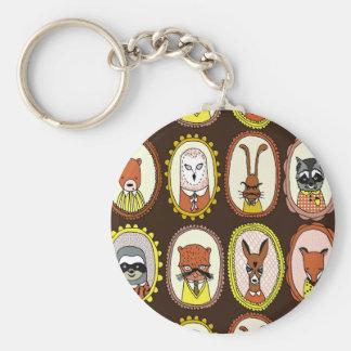 Framed Woodland Animals Fox Sloth / Andrea Lauren Basic Round Button Key Ring
