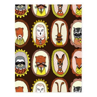 Framed Woodland Animals Fox Sloth / Andrea Lauren Postcard