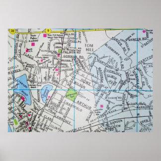 Framingham, MA Vintage Map Poster