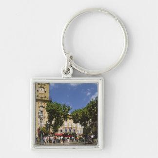 France, Aix en Provence, La Place de la Maire Silver-Colored Square Key Ring