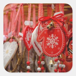 France, Alsace, Colmar. Christmas Market Square Sticker
