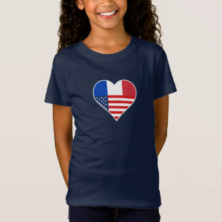 France, America, the USA. Heart, Friendship, Love. T-Shirt