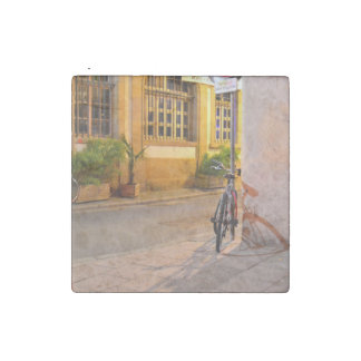 France bicycle outside a restaurant stone magnet