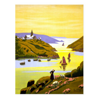 France Bretagne Vintage Travel Poster Restored Postcard
