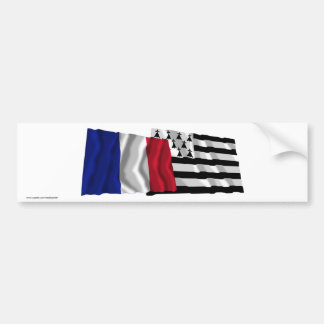 France & Bretagne waving flags Bumper Stickers
