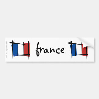France Brush Flag Bumper Sticker