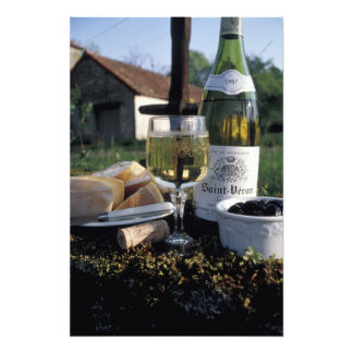 France, Burgundy, Chablis. Local wine and Photographic Print