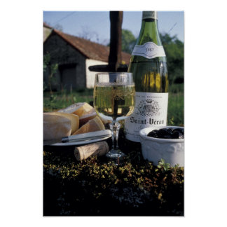 France, Burgundy, Chablis. Local wine and Poster