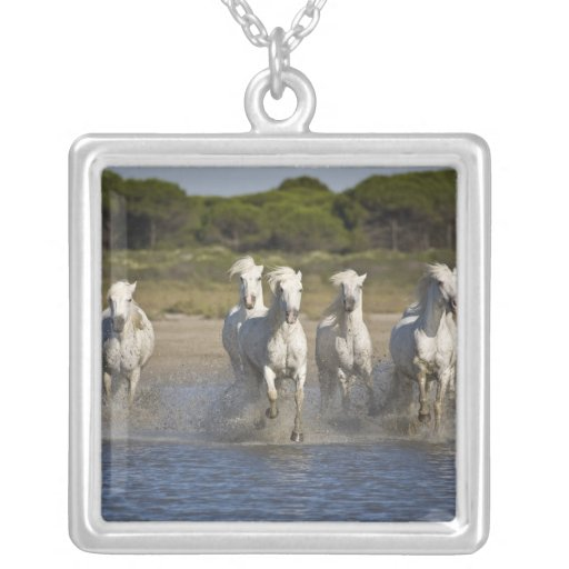 France, Camargue. Horses run through the estuary 2 Personalized Necklace