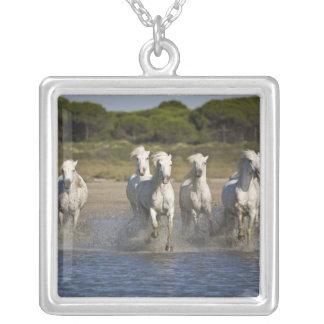 France, Camargue. Horses run through the estuary 2 Square Pendant Necklace