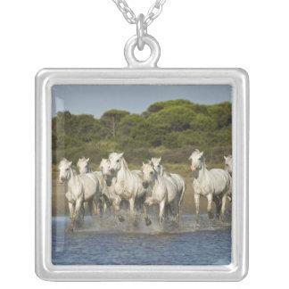 France, Camargue. Horses run through the estuary 3 Square Pendant Necklace