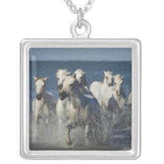 France, Camargue. Horses run through the estuary 4 Square Pendant Necklace