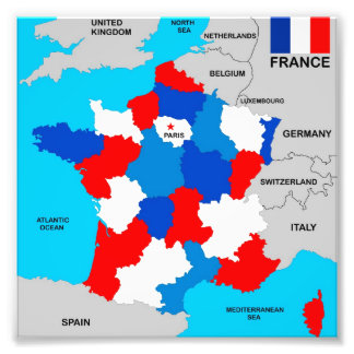 france country political map flag photographic print