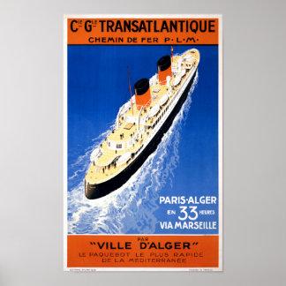 France Cruise Vintage Travel Poster Restored