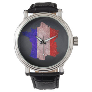 France Flag and Map Wrist Watch