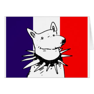 france flag and white dog with spike collar card