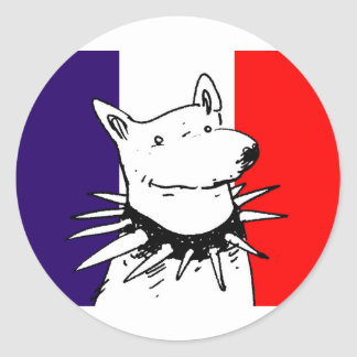 france flag and white dog with spike collar classic round sticker
