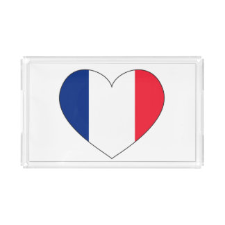 France Flag Heart Acrylic Tray
