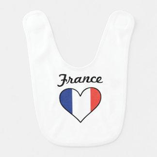 France Flag Heart Bib